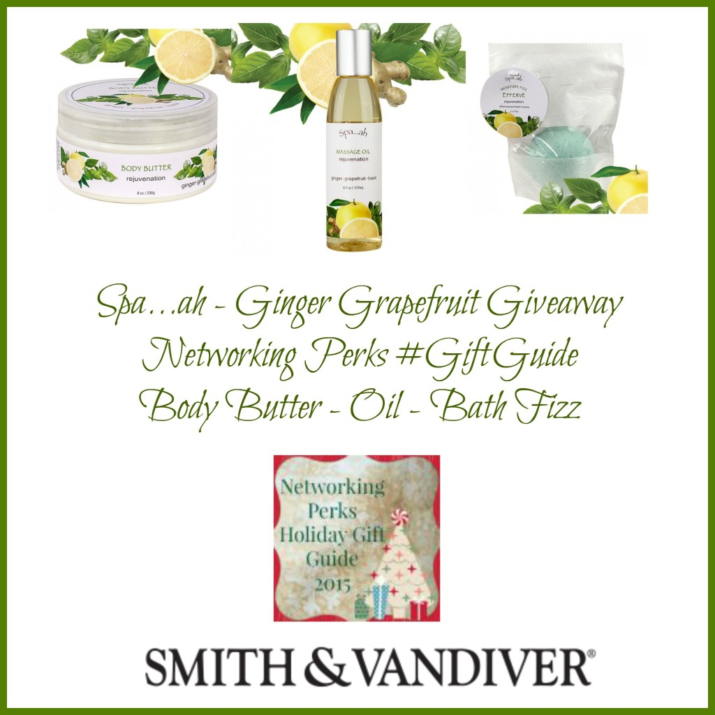 Enter the Spa...ah Ginger-Grapefruit-Basil Body Care Package From Smith & Vandiver Giveaway. Ends 11/2